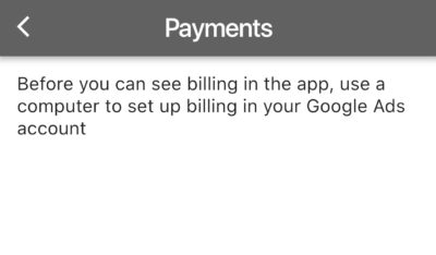 before you can see billing in the app, use a computer to set up billing in your google ads account - google ads