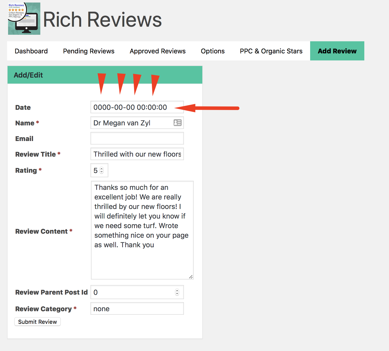 date improperly formatted correct in dashboard rich reviews error 2